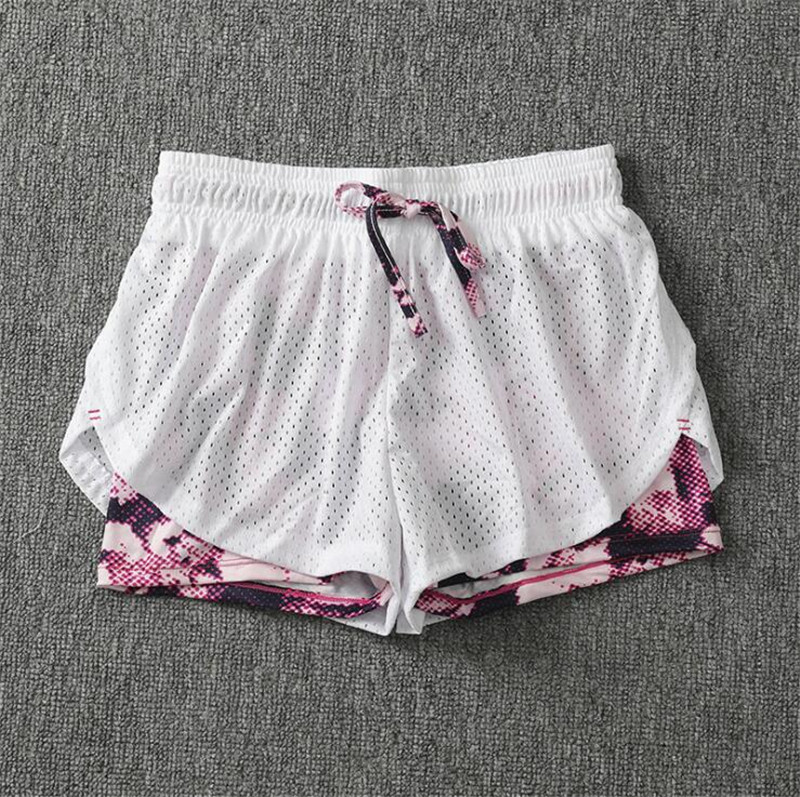 Summer Women Cotton Mesh Short Pants Work-out Two Layer Fitness Fold Short Pants Cool Wear Drawstring Clothing (28)