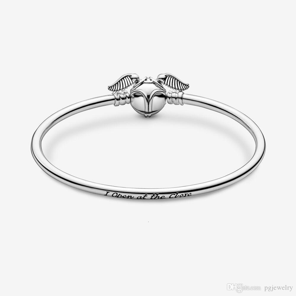 New Arrival 925 Sterling Silver Golden Snitch Clasp Pocket Bangle Harry Charm Bracelets Wings Potter Vintage Retro Tone For Men And Women