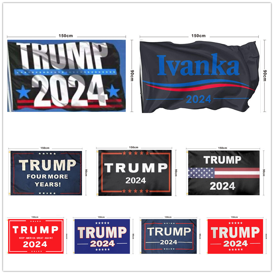 Trump Flag 2024 Hanging 90*150cm Trump Keep America Great Banners 3x5ft Digital Print Donald Trump Flag Decor Banner