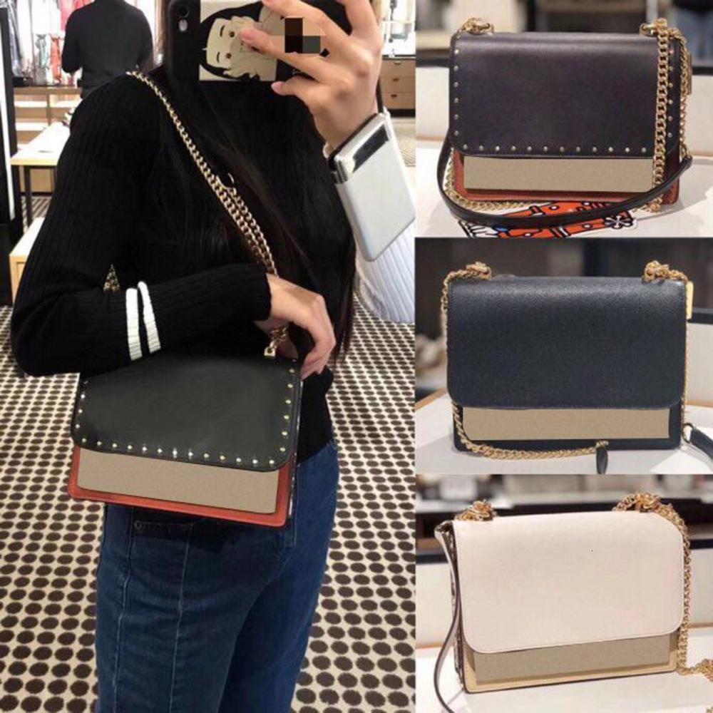The new female bag cover small bread one shoulder his color matching chain bag organ bag