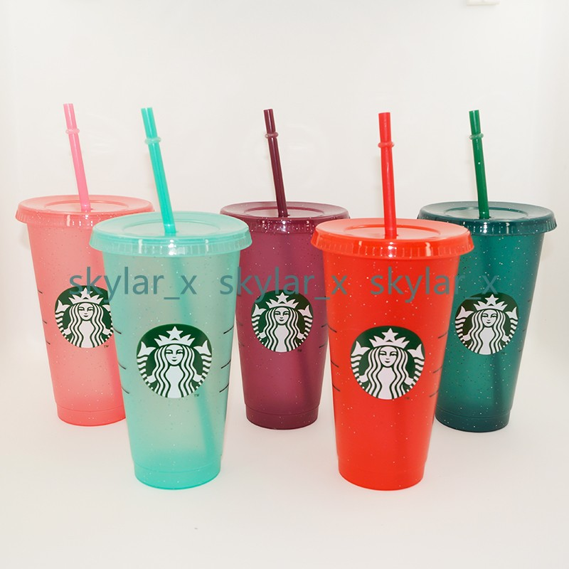24OZ/710ml Starbucks Sequins Plastic Tumbler Reusable Clear Drinking Flat Bottom Cup Pillar Shape Lid Straw Mug Bardian