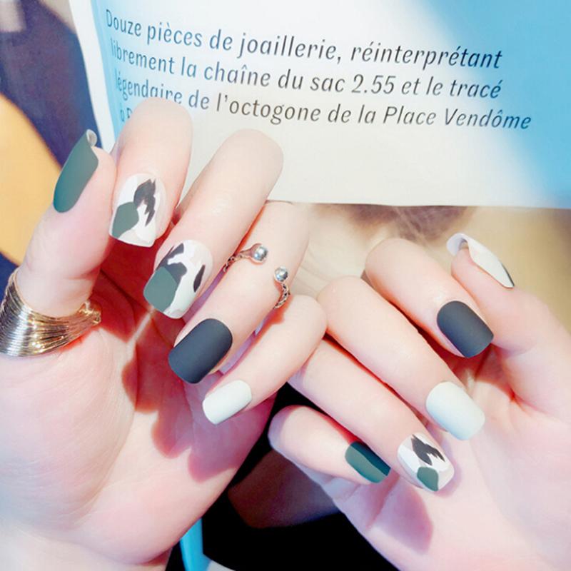 24pcs/set Matte Fake Nails With 2g Glue Full Cover Women False Nail Tips Press on Nail Artificial Nail Tips