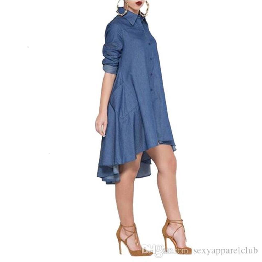 Elegant Casual Style Women Loose Dress Fashion Turn Down Neck Long Sleeve Irregular Hem Loose Denim Jeans Lady Shirt Dresses