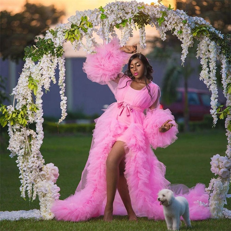 2021 Puffy Bride Sleepwear Robes With Belt Soft Tiered Tulle Sexy V Neck Long Sleeve Custom Made Bright Pink Women Sleepwear Pajamas