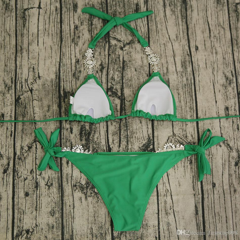 Diamond Bikini Swimsuit Crystal Brazilian Bikini Set Padded Swimsuits Push Up Swimwear Sexy Women Biquini Bathing Suits