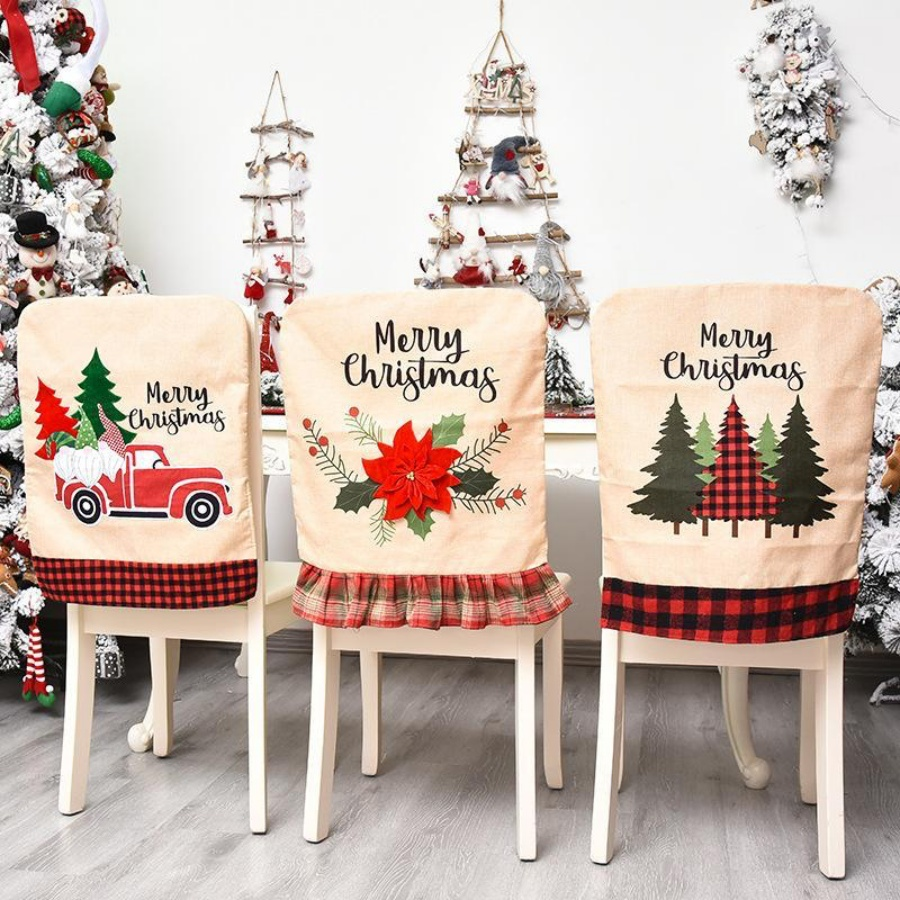 Christmas Chair Back Elastic Stretch Cover Santa Clause Holiday Party Decor Dining Kitchen Xmas Decoration
