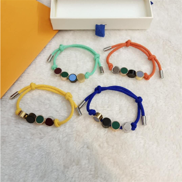 Love Designer bracelet Men's and women's fashion bracelets jewelry adjustable in 6 colors Letter flower Stainless steel luxury design bangle Yoga hand rope jewellery