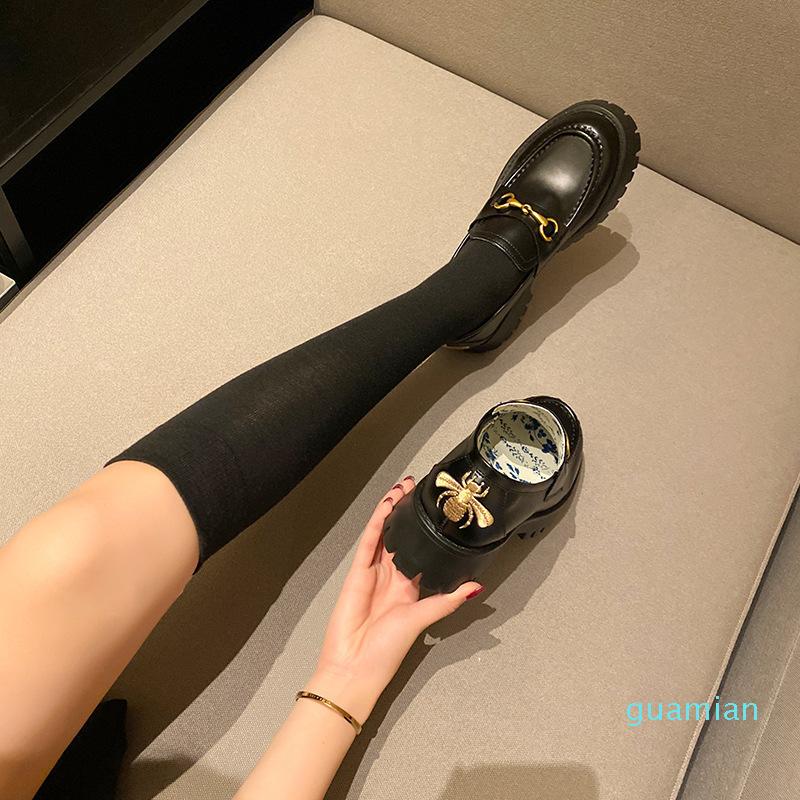 2021 autumn horsebit loafer shoes net celebrity with bee small leather shoes platform platform women's shoes LJ20