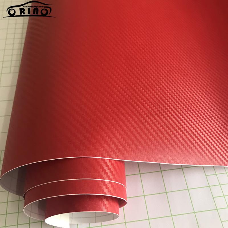 Red 3D Carbon Fiber Vinyl Film Wrap-1