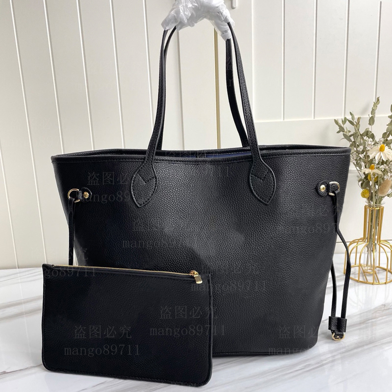 Woman Shopping Bag Handbag Purse Tote High Quality Leather fashion shoulder blue Lining serial number date code