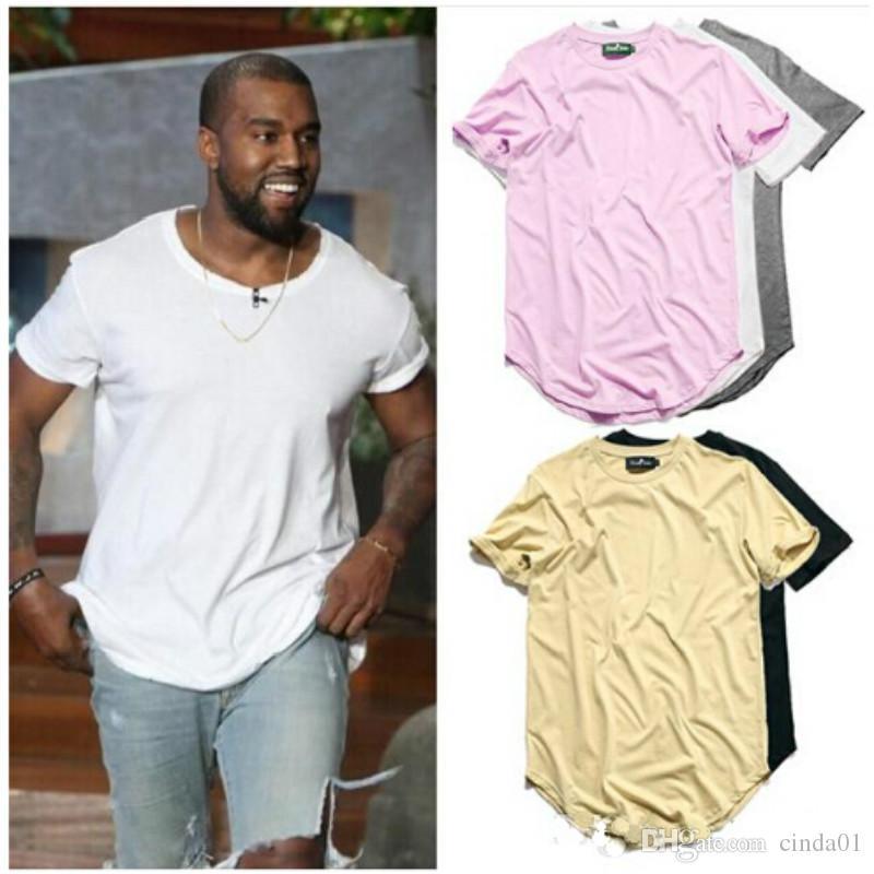 Curved Hem Hip Hop T-shirt Men Urban Kpop Extended T shirt Plain Longline Mens Tee Shirts Male Clothes