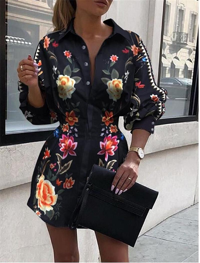 Womens Floral Blouses Lapel Neck Shirts with Buttons Slim Waist Spring Summer Long Sleeve Fashion Clothing for Woman