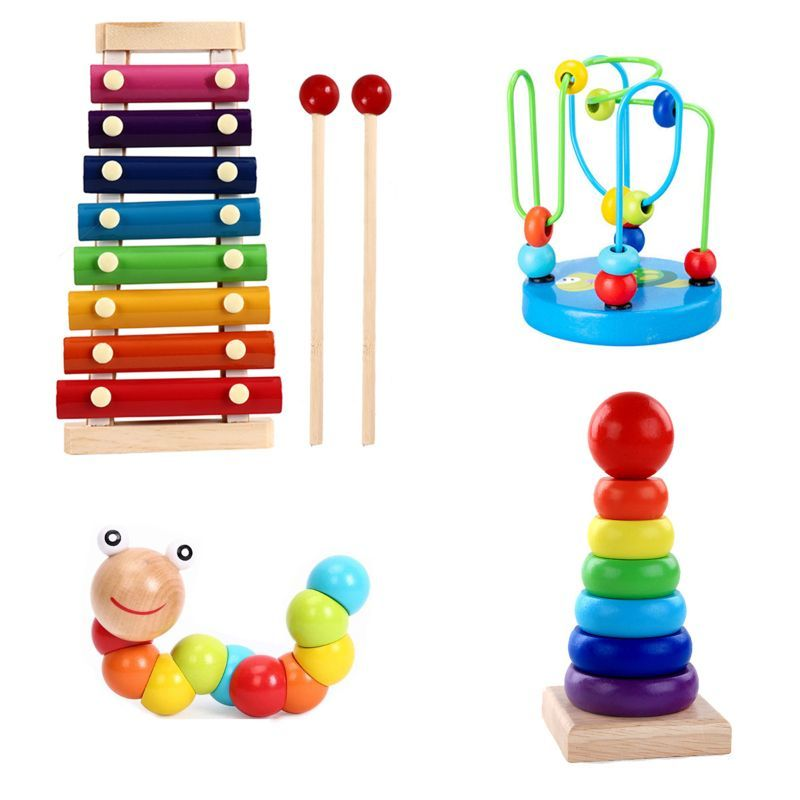 new Selling Montessori Wooden Toys Childhood Learning Toy Baby Colorful Wooden Blocks 19QF