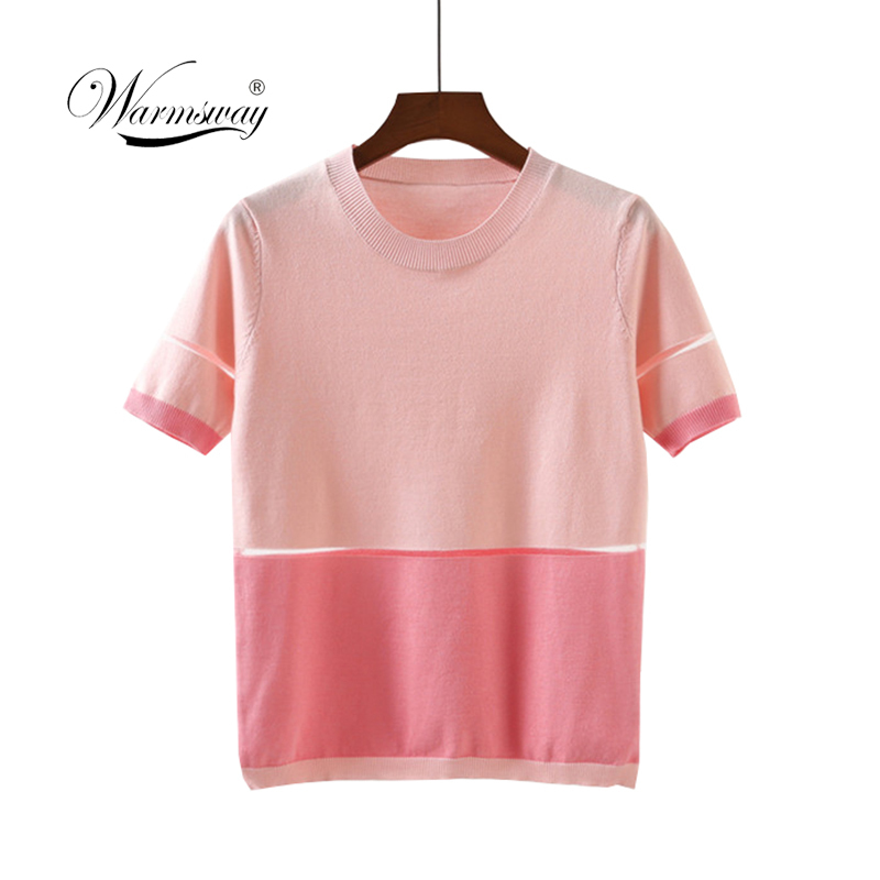 Summer New Fashion Patchwork Short Sleeve Top Casual Knitted Women Girl Pink Vintage T shirt B-175