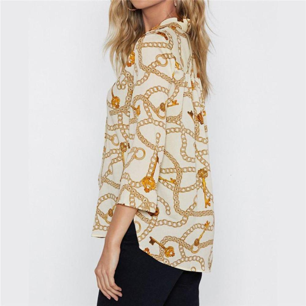 New Arrival Womens Clothing Blouses & Shirts Curb Chain Printed Lapel Seven Sleeves Loose Shirt Size S-3XL