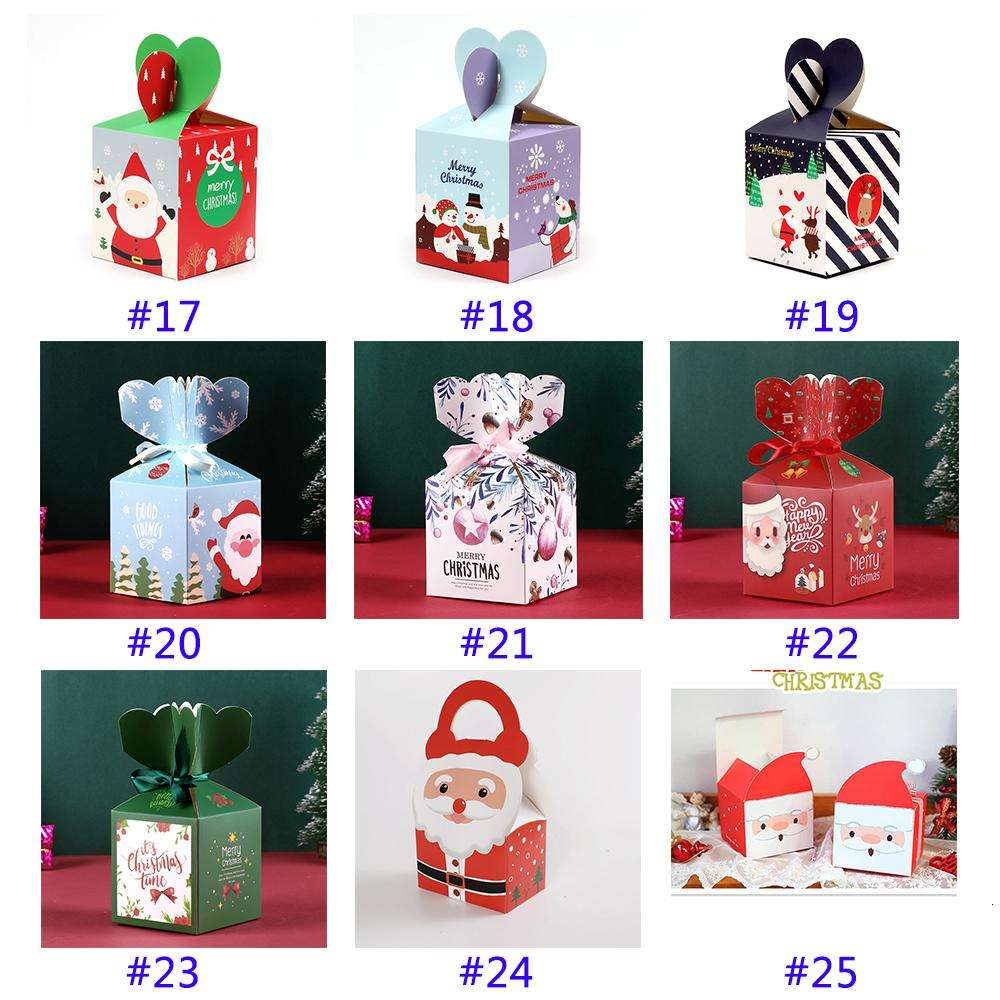 Christmas Eve Gift Box Santa Claus Fairy Design Papercard Present Party Favor Activity Box New Year Apple Boxes w-00386
