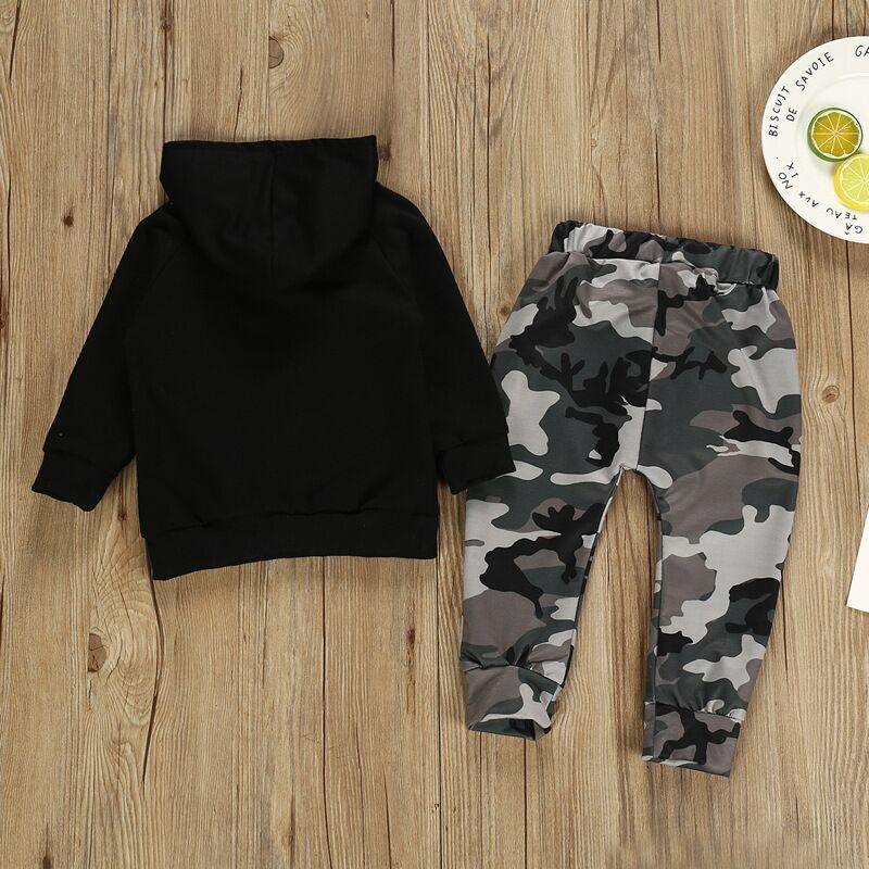 Baby Boys camouflage Clothing Set Letter Print Hoodie outfits Toddler Long Sleeve Tops + Trouser Set clothes Kids Designer Clothing