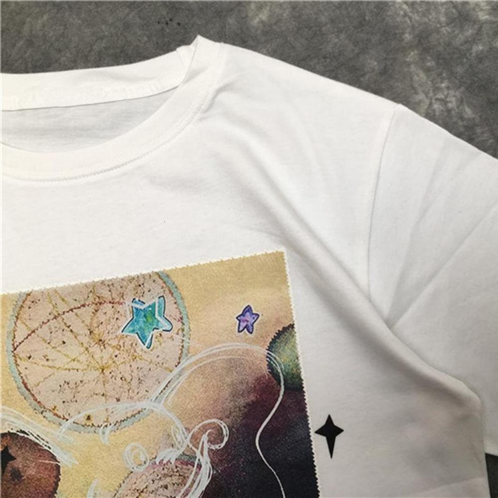 Street Fashion Mens T shirt Starry Elephant pattern Polos Short Sleeve Tennis T shirts Men Women Couple Stylist High Quality Pullover Tee