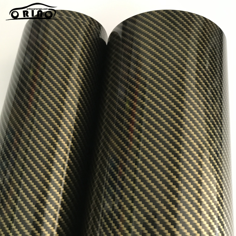 2D Gold Carbon Fiber Vinyl Wrap Sticker-4