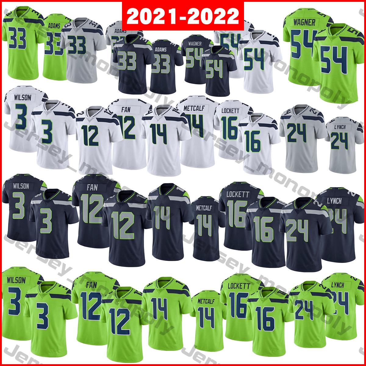 2021-2022 Football Jerseys 3 Russell Wilsonn 12 Fan 14 DK Metcalf 16 Tyler Lockett 24 Marshawn Lynch 33 Jamal Adams 54 Bobby Wagner