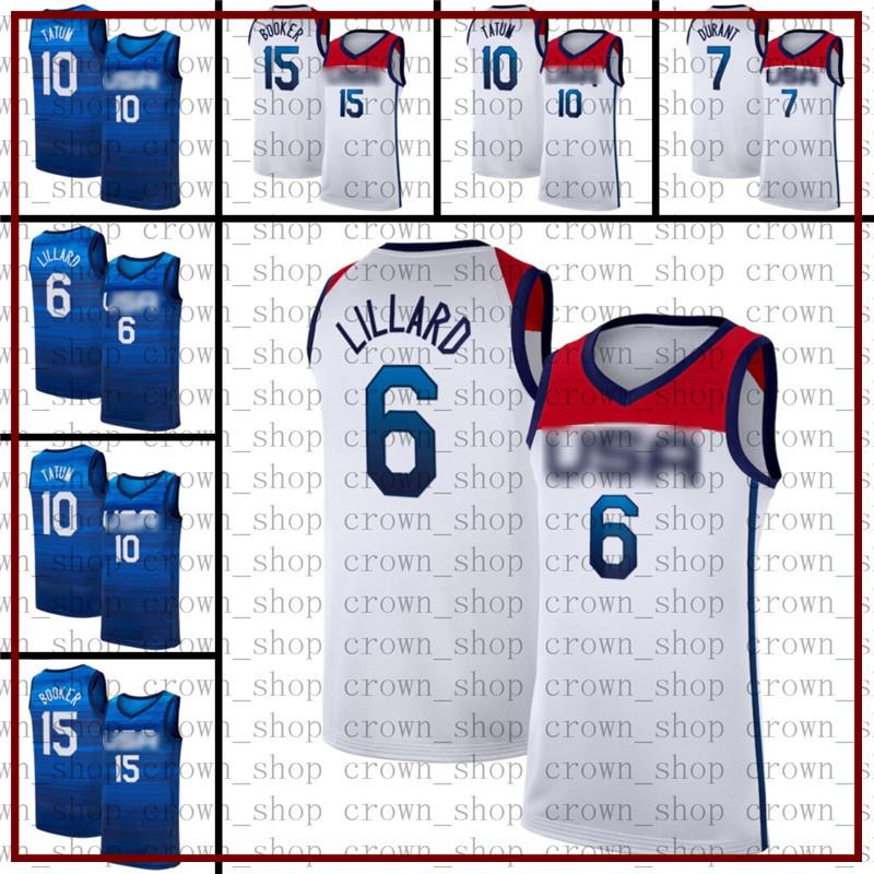 Devin 15 Booker Damian 6 Lillard Kevin 7 DurantBasketball Jerseys USA Men 2021 Summer Olympics Jayson 10 Tatum