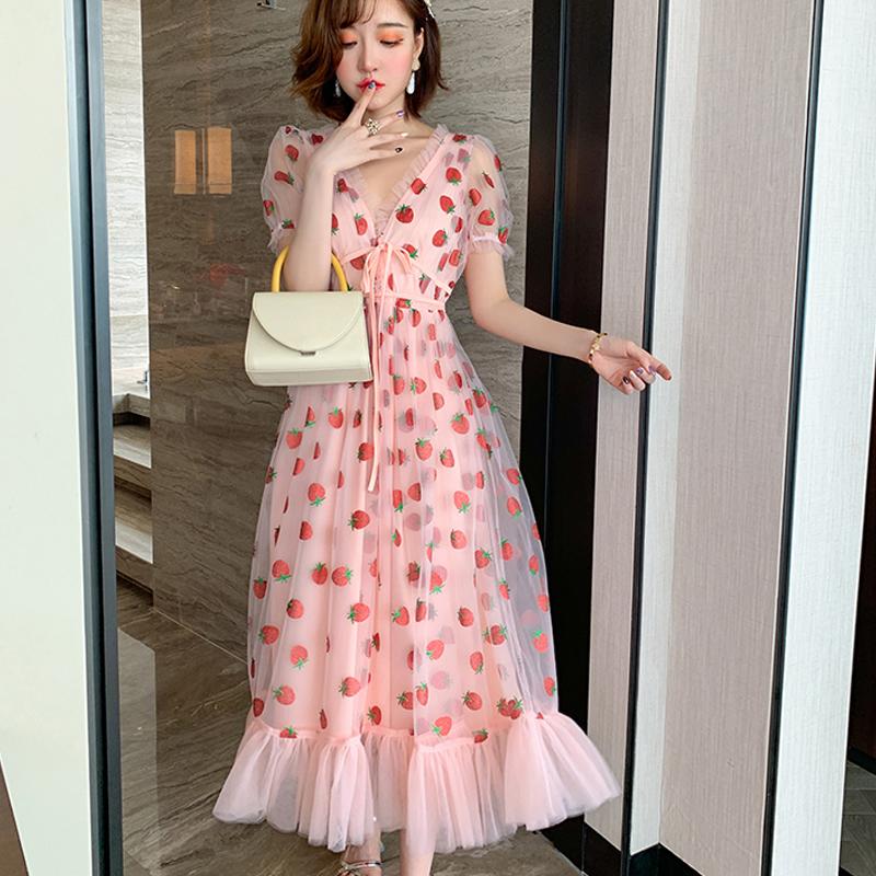 Runway Rhinestone Diamonds Strawberry Pink Mesh Maxi Dress Women Short Puff Sleeve Sexy V-neck Lace-up Bow Tunic Lolita Dress (23)