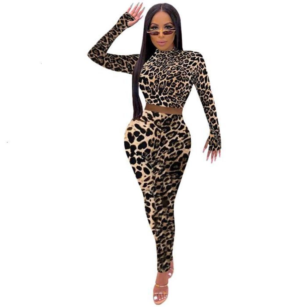 Women Leopard Two Piece Pants Long Sleeve Crew Neck Shorts Tshirt High Waist Trousers Famale Slim Fit Clothing Suit
