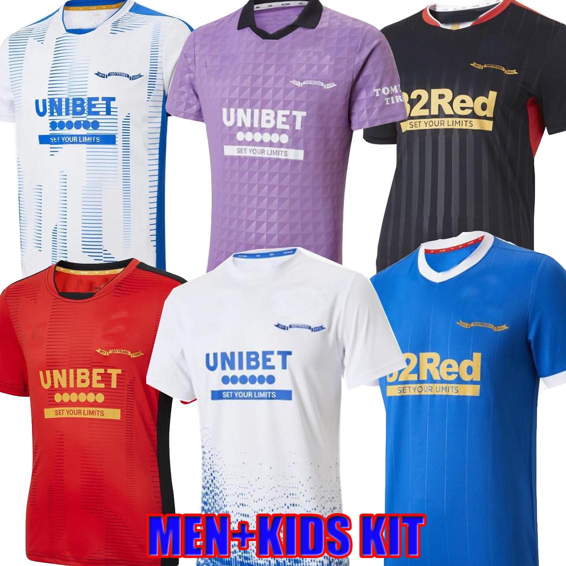21 22 Rangers Soccer Jerseys 150th Anniversary home away third Glasgow TRAINING DEFOE HAGI BARKER MORELOS TAVERNIER 2021 2022 maillot Football Shirt Men + kids kit