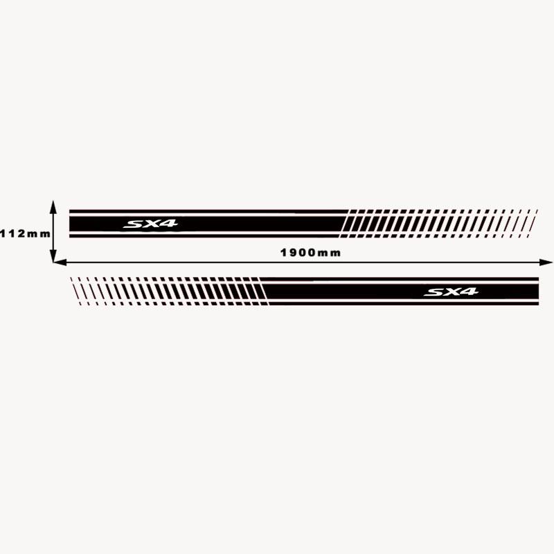 2Pcs Stylish Car Side Body Sticker Vinyl Body Decal Side Sticker Stripes Stickers for Suzuki Sx4 (4)