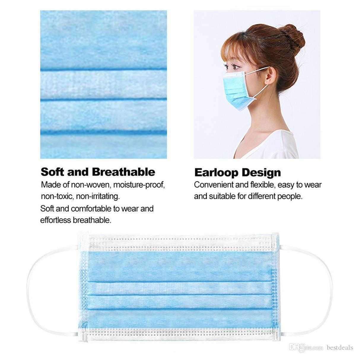 US Stock Face Masks with Elastic Ear Loop 3 Ply Breathable and Comfortable for Blocking Dust Air Pollution Protection Pack