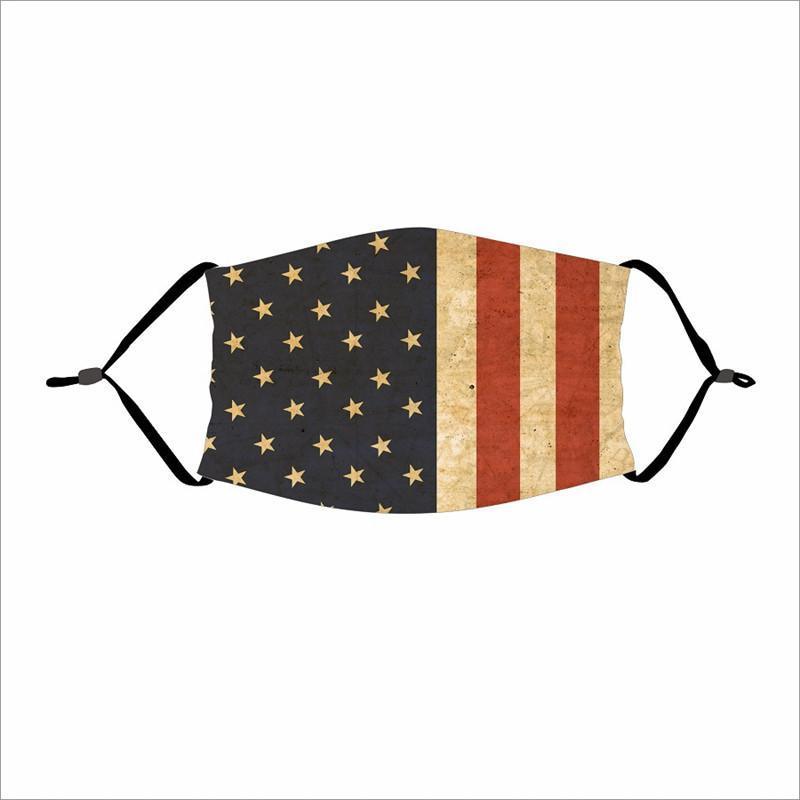 Fashion America Flag Face Mask Dustproof Masks Breathable Sunscreen Adjustable Printing Masks Reusable Protective Mask DHL