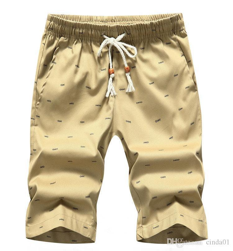 Summer Shorts Men Knee Length Breathable Large Size Beach Style New Style Fashion Casual Simple Pants