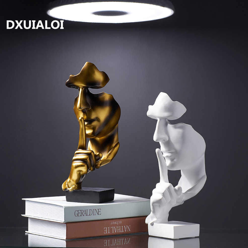 Accessories for Home Decoration Silence Is Gold Statue for Decoration Statue of Human Face Sculpture Abstract African Decoration Q0525