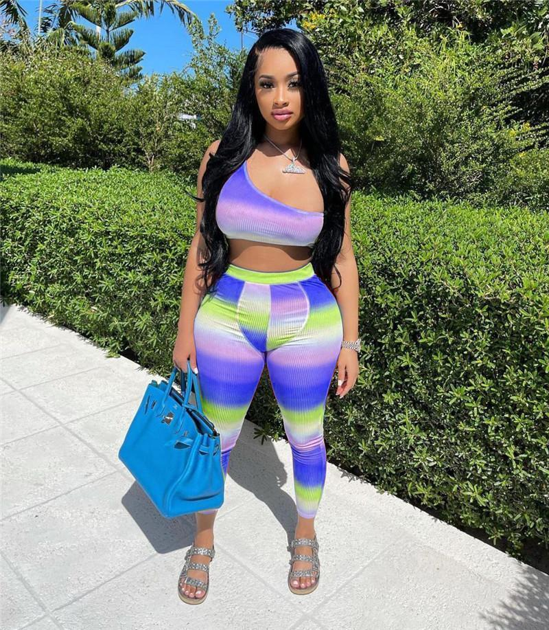 Summer clothes Women jogger suit plus size 2XL outfits tie dyed tracksuits sleeveless tank top+leggings two piece set casual sportswear 4553