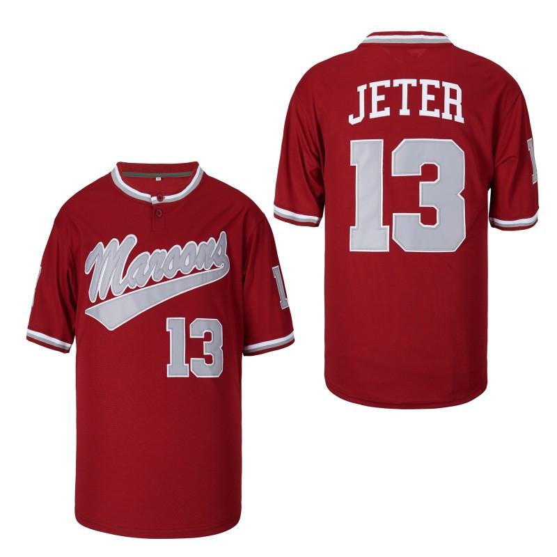 Mens Baseball Jersey Stitched #13 Derek Jeter Kalamazoo Central High School Maroons Jerseys