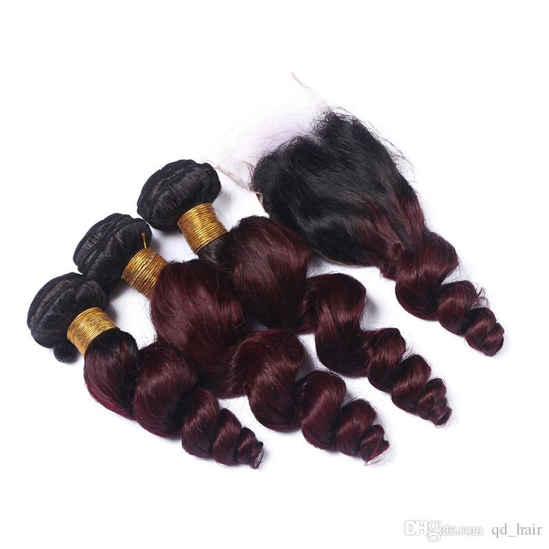 Hot Selling Dark Root Ombre Hair Bundles With Lace Closure Human Burgundy 1B 99J Loose Wave Hair Bundles With Lace Closure