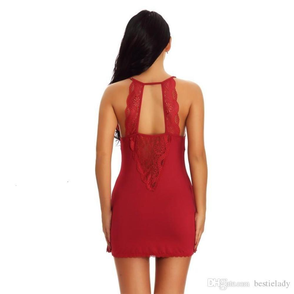 Women Racer Back Lace and Mesh Nightwear Babydoll Chemise with G-String Sleepwear Dress Lingerie Set S-XXL Black Red Drop Ship
