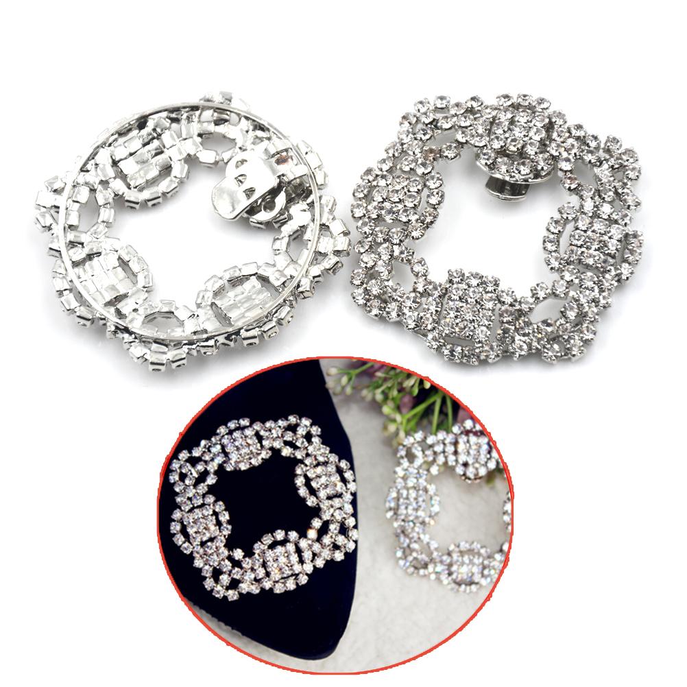 1 Pcs New Women Crystal Shoe Clip Decoration Shoe Rhinestone Charm Metal Shoe Square Clamp Bridal Shoes Rhinestone Accessories