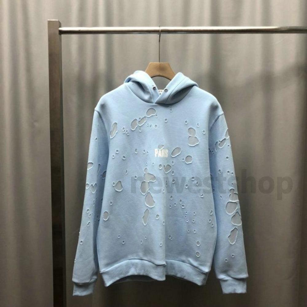 2020 new Europe Paris Clothing mens classical big Broken hole hoodies Sweatshirt Women Hoodies fashion Jumpers Designer hoodie