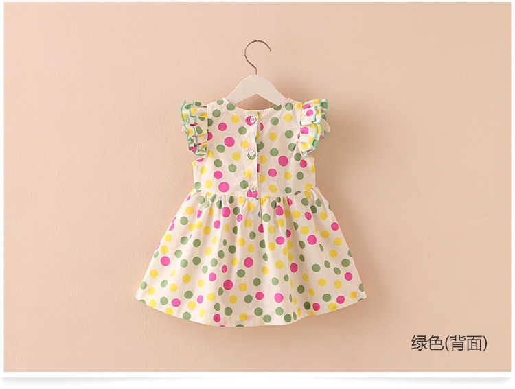 Summer 2-10 Years Beautiful Pretty Sweet Children Baby Kids Pleat Short Fly Sleeve Party Prom Polka Dot Dresses For Girls (6)