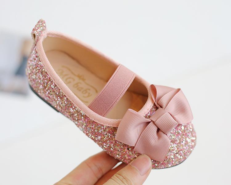kids girls soft bottom Flat Bow princess shoes Size 21-30 Children Shoes spring and summer Baby Girls Dance Shoes
