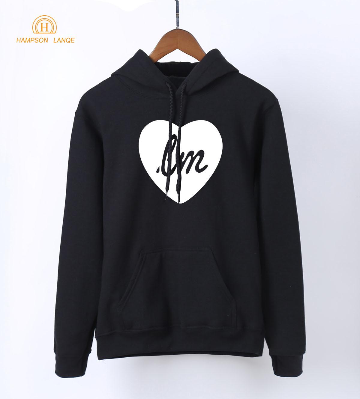 Adult Science Hoodies Heart & LM Print Casual Sweatshirts Hoodies 2019 Spring Autumn WarmFleece Women Long Sleeve Hooded S-XXL