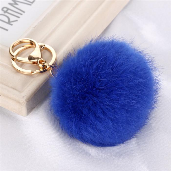 8CM ffy Pompom Real Rabbit Fur Ball Key Chain Women Trinket Pompon Hare Fur Toy keyring Bag Charms Ring Keychain Wedding Gift (9)