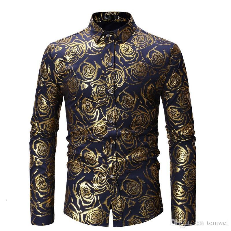 Floral Shirts for Men Long Sleeve Shirt Luxury Shirts Male Fashion Tops High Quality Gold Color