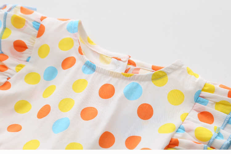 Summer 2-10 Years Beautiful Pretty Sweet Children Baby Kids Pleat Short Fly Sleeve Party Prom Polka Dot Dresses For Girls (8)