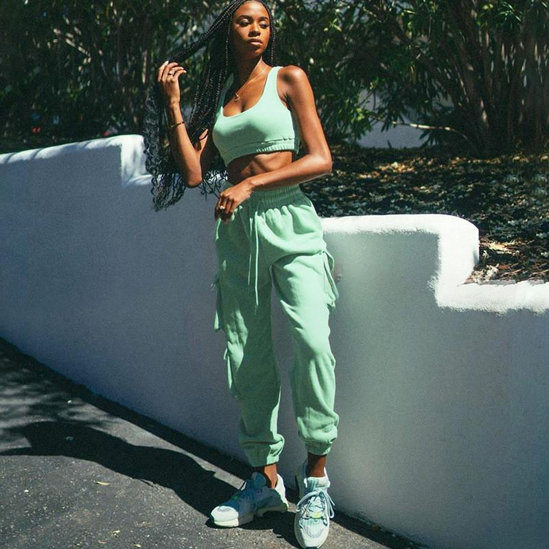 Solid Sportswear Tank Top And Sweatpants Two Piece Sets Women Sleeveless Casual Workout Loungewear Pocket Tracksuits
