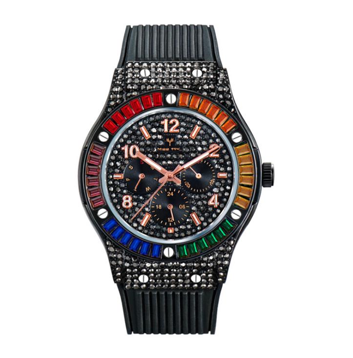 MISSFOX Life Waterproof Quartz cwp Mens Watches Square Colourful Diamond Refined Zircon Silicone Strap Male Wristwatches Multicolour Optional