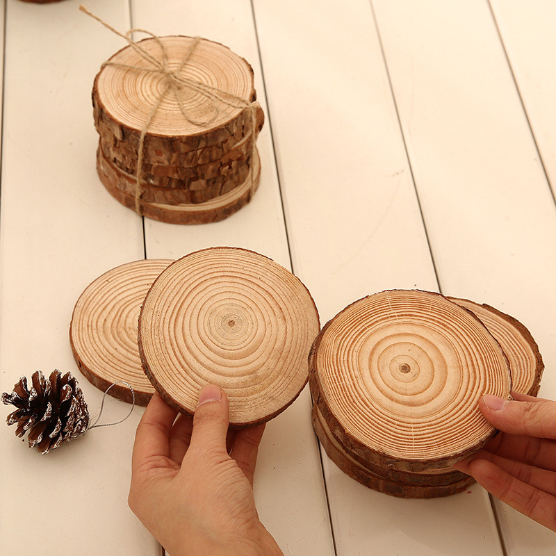6pcslot Pine Wooden Chips Cut Pieces Wood Log Sheet Rustic Wedding Decor Party Centerpieces Vintage Country Style (3)