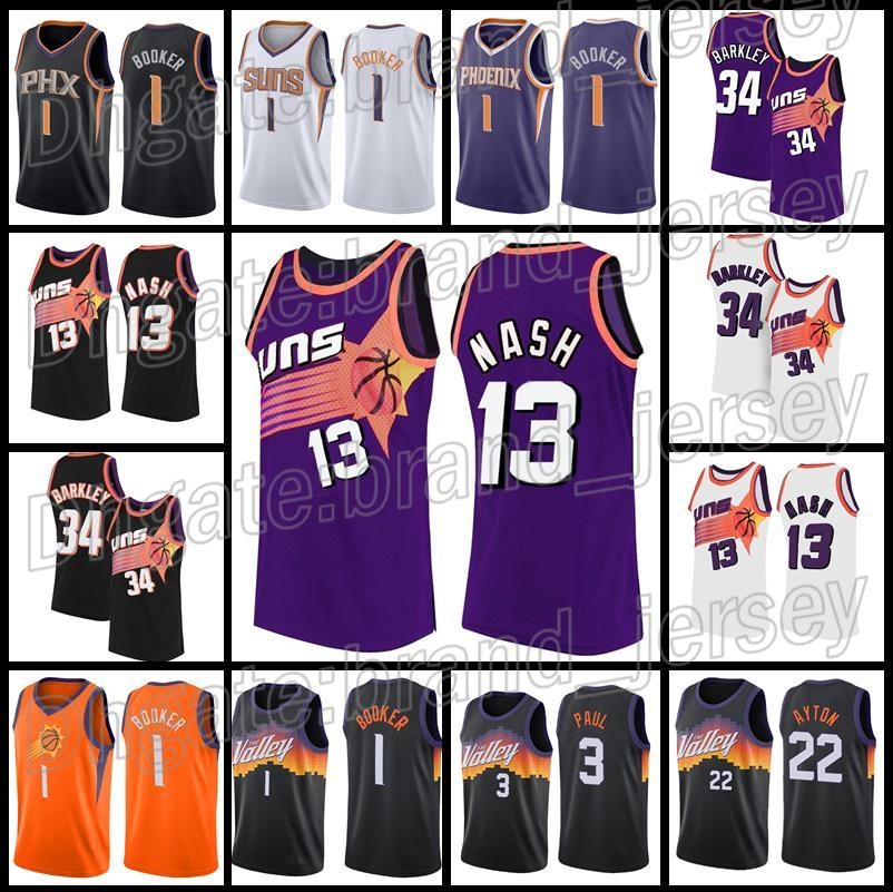 Phoenix Suns Basketball Jerseys 13 Steve Nash 1 Denver Booker 34 Charles Barkley 3 Chris Paul 22 DeAndre Ayton Mens