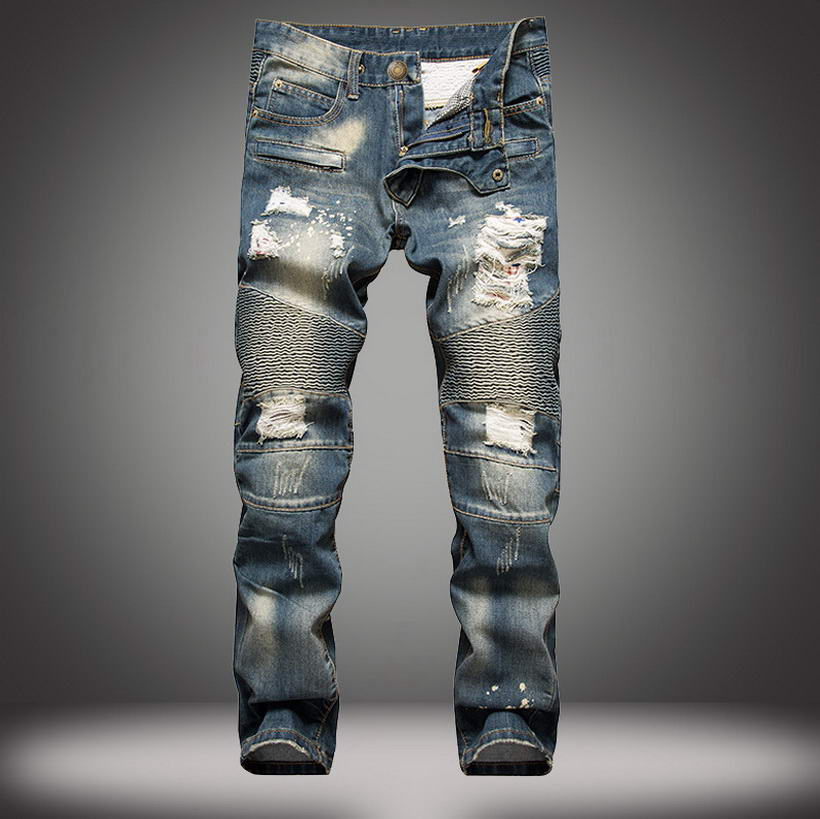 DHgate coupon: 2021 New High Quality Brand Men Jeans Fashion Ripped Jeans Men Straight Fit Jeans